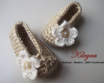 Baby Girl Shoes Oatmeal Crochet Flats Ballerina Slippers Booties 0-3 month READY to SHIP GIFT Photo Prop