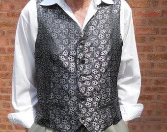 Silver, grey and black jacquard clasic men's vest, size L mens vest, ready to ship
