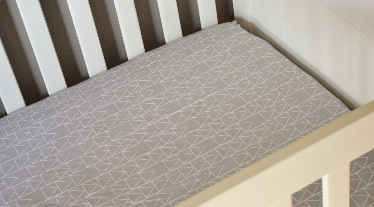 Fitted Crib Sheet Faded Triangles Stacked Grey Crib By Modfox