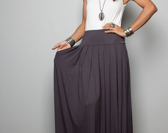 Maxi Skirt -  Long Dark Grey Skirt : Autumn Thrills Collection No.2w