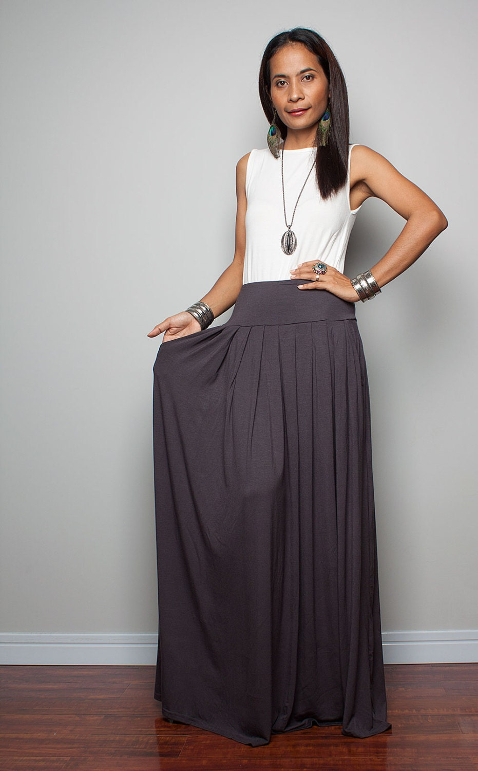 Charcoal Grey Maxi Skirt Jill Dress