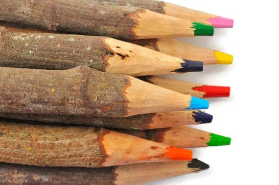 Jumbo twig pencils rustic coloring pencils rainbow crayons. Over sized Kids birthday favors colorful gifts