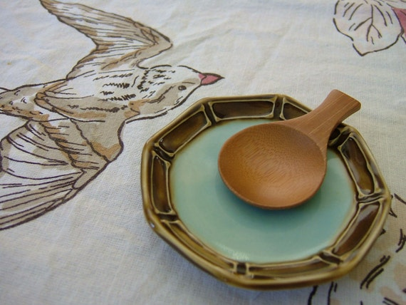 Thrown Small Plate - Butter Pats - Brown and Light Blue