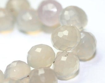 Chalcedony Micro Faceted Onion Briolettes 4 Natural Grey Semi Precious Gemstone Winter Color