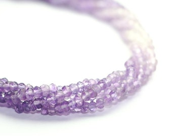 Amethyst Micro Faceted Rondelles Set of 15 Shaded Lavender Purple Semi Precious Gemstones February Birthstone