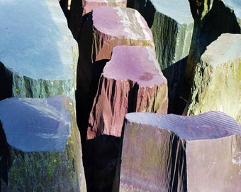 Rugged Lilac, Blue Purple Stones, Fine Art Photography Print, (Stone Decoration Manchester), Home Decor, Abstract Wall Art, Photo Prints