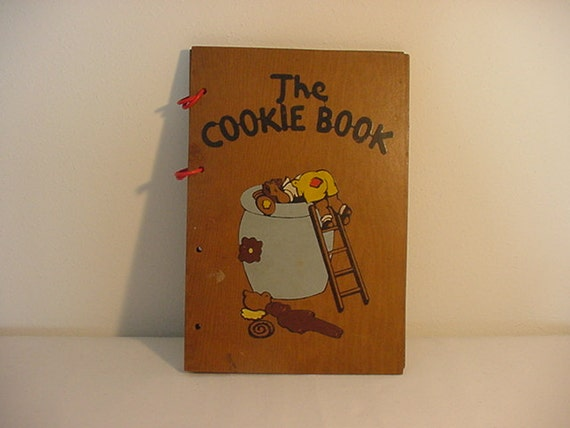 Wood Cover Cookbook ~ Vintage cookbook the cookie book with wood covers by