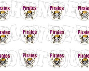 Pirates with purple and gold bottlecap image sheet - school mascot