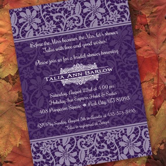 bridal shower invitations, retirement invitations, eggplant bridal shower invitations, royal purple bridal shower invitations, IN217.4