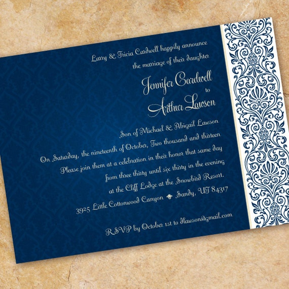 wedding invitations, midnight blue wedding invitation, navy damask invitation, navy damask rehearsal dinner, navy and white retirement IN234