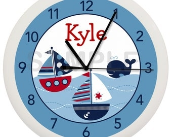 Nautical Sailboat Whale Personalized Nursery Wall Clock Boys Room