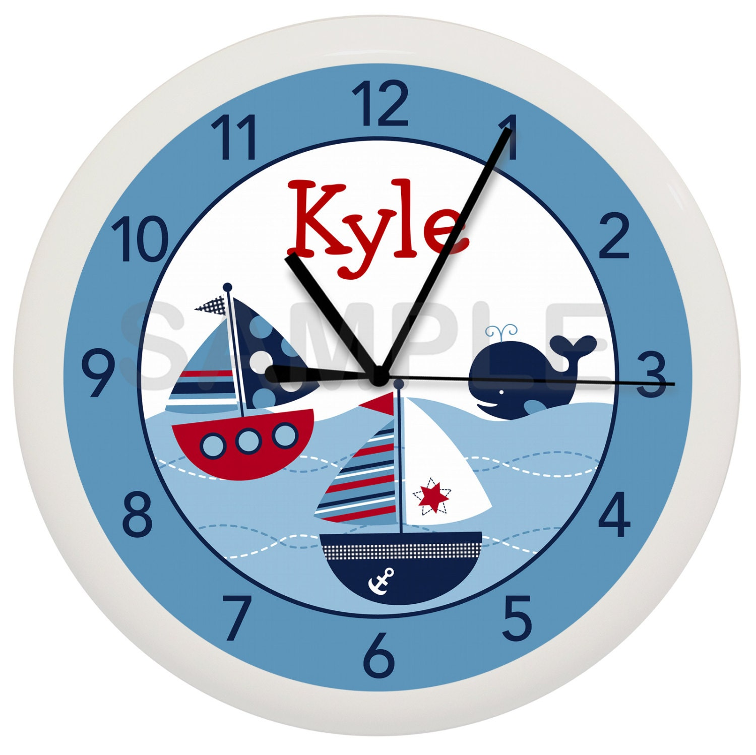 Nautical Sailboat Whale Personalized Nursery Wall Clock Boys