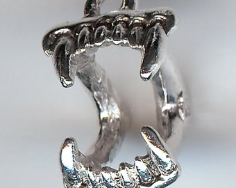 ONE - Sterling Silver Plated Pewter Charm. 3D Fangs. Mouth. Fang. Monster. Vampire. Made in the USA.