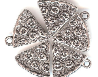 PIZZA SLICE Charm. Silver Plated. One Sided.