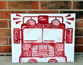 little red fire truck art . 16x20 . original art on canvas . hand sketched and painted by melanie. modern art . fire engine decor .red truck