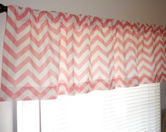 SALE Curtain Valance Topper Baby Girl Nursery 52x15 Pink & White Zig Zag Chevron Valance Baby Room