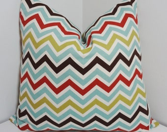 Decorative Pillow Cover Village Blue Brown Zig zag Chevron Pillow Covers All Sizes