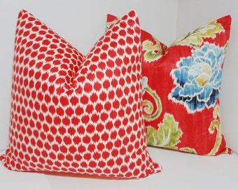 Two Lipstick Red Decorative Pillow Throw Pillow Waverly Red Ikat & Floral Accent Pillows 18x18