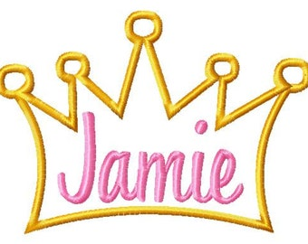 Princess Crown - ONLY - Applique - Machine Embroidery Design - 10 Sizes