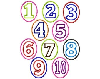 Oval Birthday Numbers - 1-10 Applique - Machine Embroidery Design - 4 Sizes