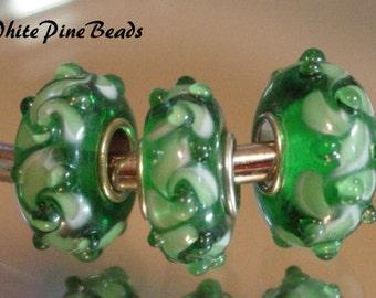 Green Murano Glass Bead Fits European Style Charm Bracelets