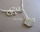 Silver Bird Necklace, Bird and Branch Necklace, Lariat Style