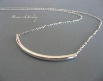 Silver Tube Necklace, Silver Choker