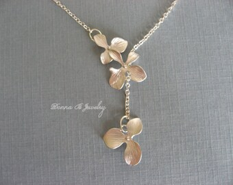 Silver Orchid Necklace, Triple Flower Lariat Necklace