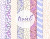 12x12 Printable Digital Paper Pack : Twirl ( Tan, Peach, Purple Pink - Leopard & Damask Patterns  )