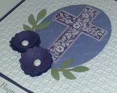 Handmade Stamped  Stampin Up Greeting Note Card Happy Easter Cross