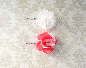 Chic Lace and Satin Hair Pin- Coral