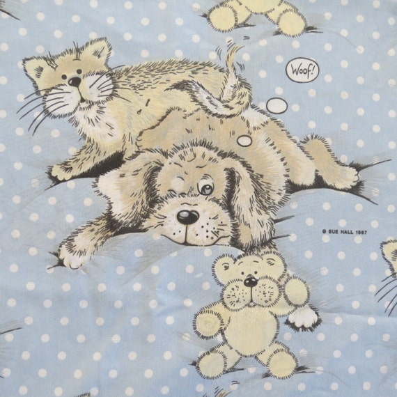 Vintage Twin Flat Sheet Snatch The Dog And Cat By Sue Hall