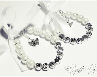 Personalized Name Bracelet, Flower Girl Bracelet, White Pearl Bracelet, Flower Girl Jewelry, Little Girl Bracelet, Kids Jewelry, Kids Gift