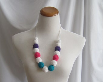 Crochet Covered Bead Necklace - White, Hot Pink, Aqua Turquoise and Purple