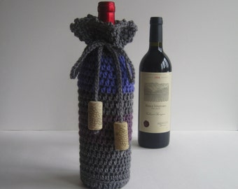 Wine Cozy - Crochet Wine Bottle Covers Sacks Gift Bags - Purple and Heather Gray with Cork Tassels