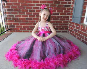 The Hair Bow Factory Pink Cowgirl Feather Tutu Dress Size 12-24 Months-8