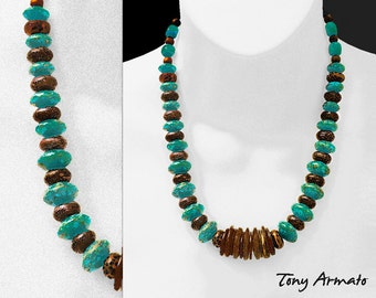 Turquoise & Ebony Disc Necklace • Hand Made With Genuine Turquoise And Brown Ebony • One Of A Kind • With Free Earrings • ON SALE NOW !!!