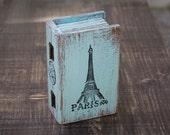 Blue Paris Ring Box Ring Bearer Box Eiffel tower box Treasury Box Paris Jewelry box  Paris distressed box Еngagement box French Eiffel Tower