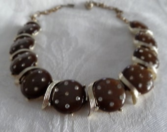 Necklace vintage mink brown lustrous thermoset discs with rhinestones