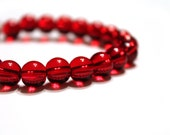 SALE Red Transparent Glass Beads 8mm - 24 pcs