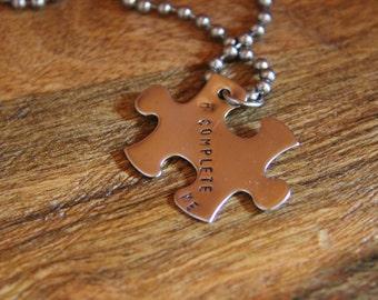 "Love Necklace, Couples Necklace, Puzzle Piece Necklace, Metal Stamped Necklace ""U Complete Me"""