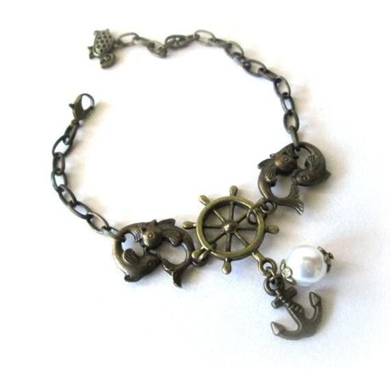 Double fish bracelet white pearl jewelry anchor charm nautical bracelet antique brass bronze