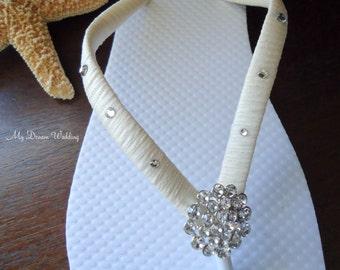 Ivory Flip Flops. Bridal Ivory flip flops Swarovski Crystals bride flip flops.  -Other colors available-BELLA-