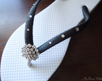 Black Flip Flops. Bridal  flip flops w/ Swarovski Crystals.Wedding Black flip flops.Bridal Party.Other colors available-BELLA-white-black