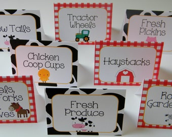 Farm Birthday Party Personalized Printed Food Labels Tent Cards - Placecards - Farm Party Decorations - Set of 8