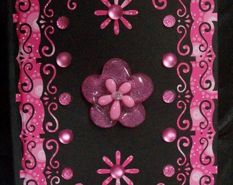 Bright Pink and Black Scrolling Hippie Flower Journal