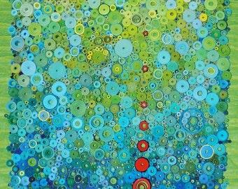 "Modern wall art, Modern paper art, Bright modern art, Original 3-Dimensional paper fine art, rolled paper art, ""Suspended Submersion"""