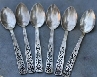 Six Antique Old Pawn Sterling Navajo Native American Handmade Spoons
