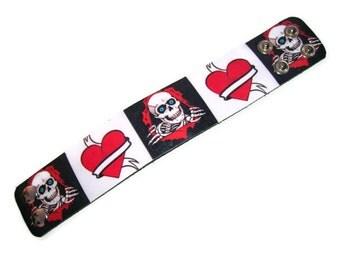 Leather Bracelet.Leather bangle bracelet.Smile Skull,Heart.Unisex.