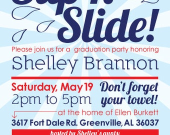 Slip n Slide Party Invitation - 5x7 - Digital File - You Print